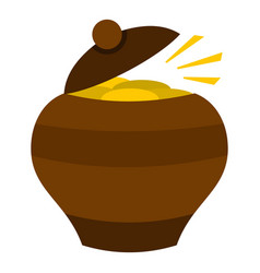 clay pot full of gold coins icon isolated vector image