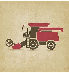 combine harvester farm machinery old background vector image vector image
