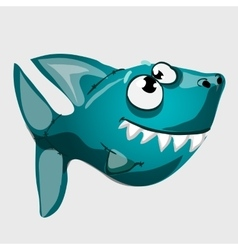 Cute toothy blue fish shark with big eyes vector