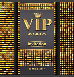 Design invitations to the vip party gold vector