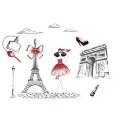 Fashion girl walking in the Paris vector image vector image