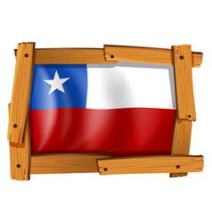 Flag of chile in wooden frame vector