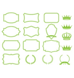 frame set with laurelsribbons and crowns vector image
