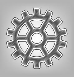 Gear sign pencil sketch imitation dark vector