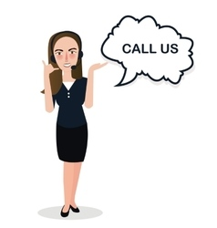 girl call us center standing support vector image vector image