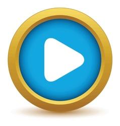 Gold play icon vector
