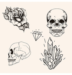 Hand drawn set sketch scull tattoo line art vector image