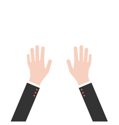 hands up in business suit vector image vector image