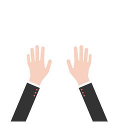 Hands up in business suit vector