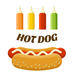 hot dog street food set colorful image vector image vector image