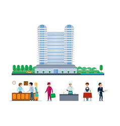 hotel services cityscape and the environment vector image vector image