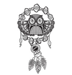 indian dream catcher with ethnic ornaments and owl vector image vector image