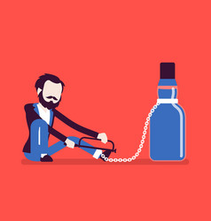 man with bottle in alcohol dependency vector image