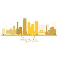 Manila city skyline golden silhouette vector