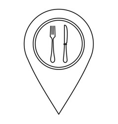 Map pointer with restaurant sign icon vector