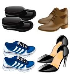 Much miscellaneouses footwear vector image vector image