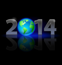 new year 2014 metal numerals with earth instead vector image