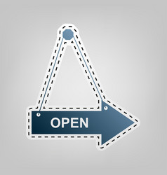 Open sign blue icon with vector
