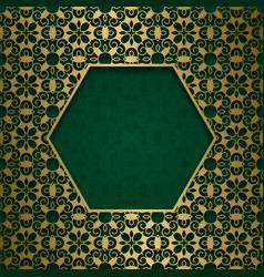 ornamental background with hexagonal frame vector image vector image