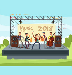 outdoor summer festival concert with pop music vector image vector image