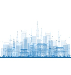 Outline city skyscrapers and tv towers vector