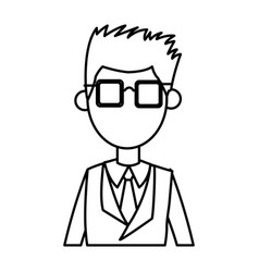 outlined male with suit and glasses image vector image
