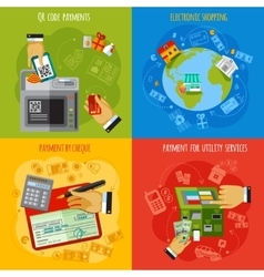 Payment methods 4 flat icons square vector image vector image