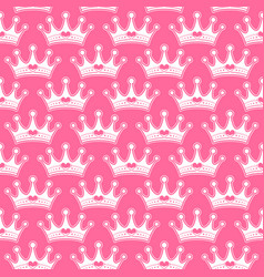 Pink girly princess royalty crown with heart vector