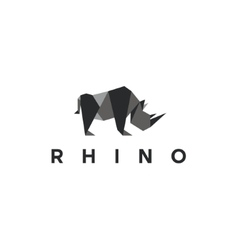 Polygons rhino low poly animal logo vector