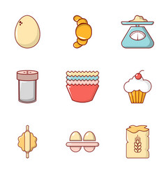 Rural food icons set flat style vector