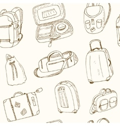 seamless pattern different travel bags and vector image