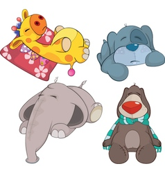 Set of soft toys cartoon vector image