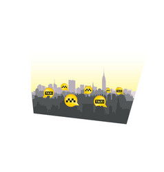 taxi service sign city skyline background call vector image