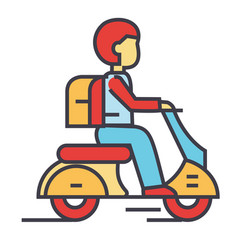 travel scooter bike hipster rider motorcycle vector image