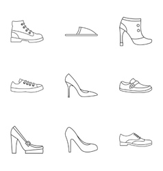 Types of shoes icons set outline style vector image