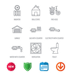 Ventilation garage and heat radiator icons vector
