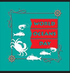 world ocean day card vector image vector image