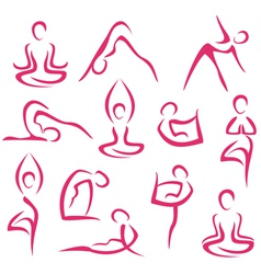 yoga big set vector image vector image