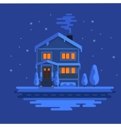 Winter scene with european city at night time vector