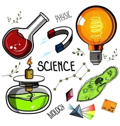 Colored hand drawn science set vector