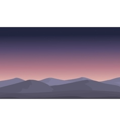 Mountain at night landscape silhouettes vector