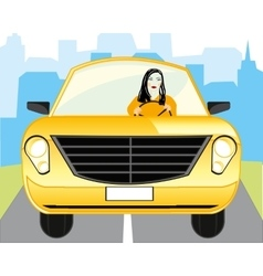 Girl for meat loaf of the car vector