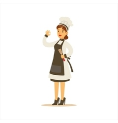 Woman professional cooking chef working in vector
