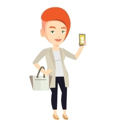 Woman holding ringing mobile phone vector