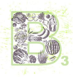 Ink hand drawn fruits and veggies vitamin b3 vector