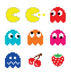 Pacman and ghosts 80s computer game icons set vector