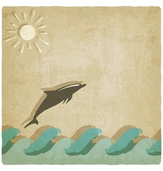 Vintage background with dolphin vector image