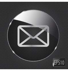 Glass mail button icon on metal background vector