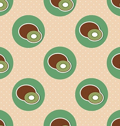 Kiwi pattern seamless texture with ripe kiwi vector