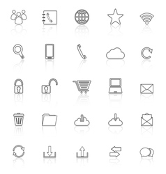 Communication line icons with reflect on white vector